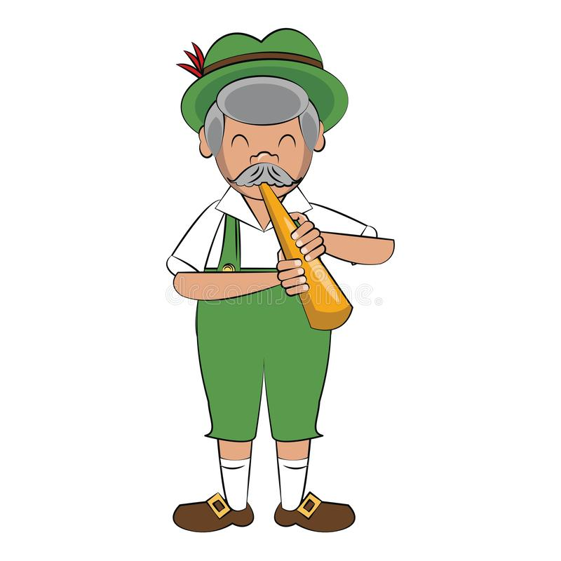 Bavarian man with horn instrument. Vector illustration graphic design royalty free illustration