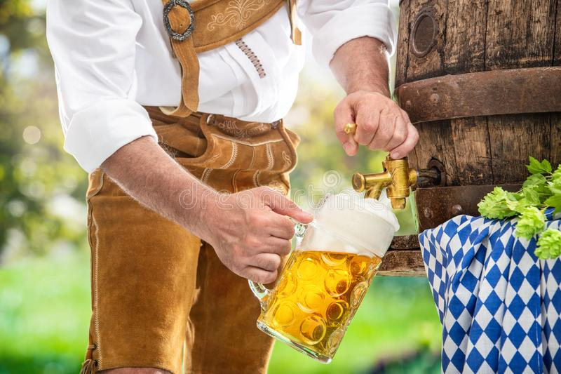 Bavarian man in leather trousers is pouring a large lager beer in tap from wooden beer barrel. In the garden. Background for Oktoberfest, folk or beer festival royalty free stock photo