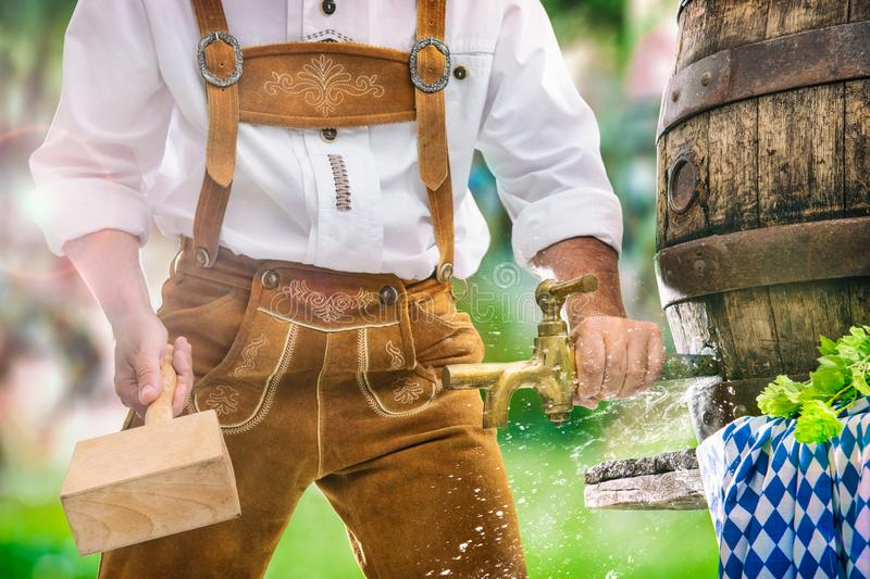 Bavarian man in leather trousers taps a wooden barrel of beer in the garden royalty free stock photography