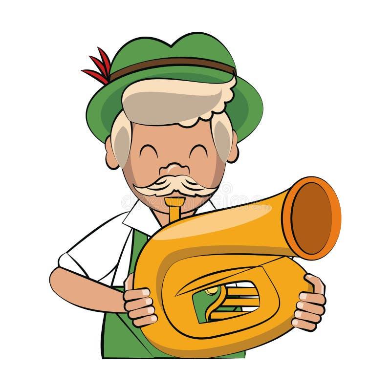 Bavarian man with music instrument. Vector illustration graphic design stock illustration