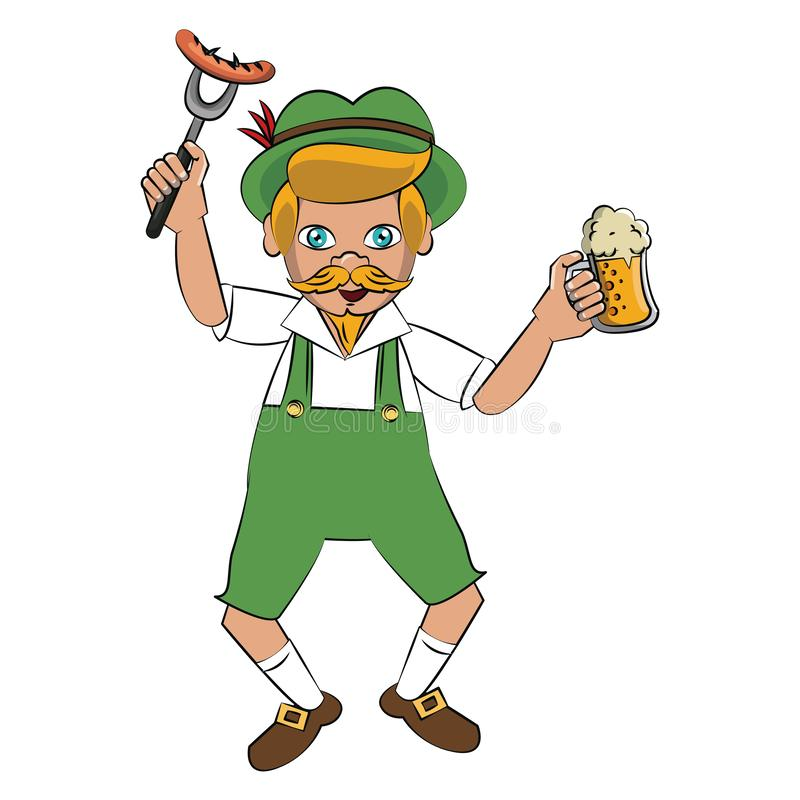 Bavarian man with sausage and beer. Vector illustration graphic design vector illustration