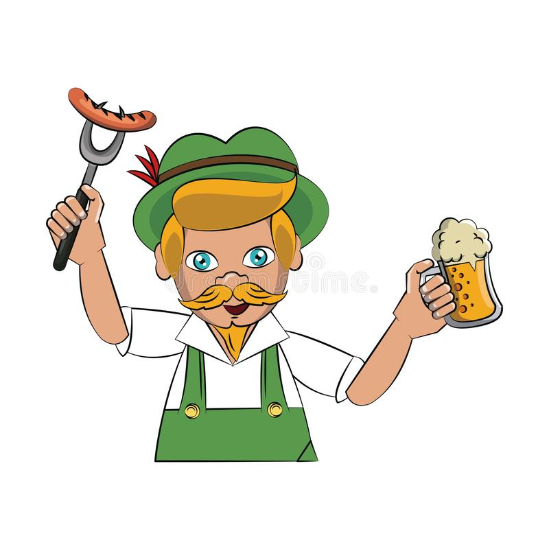 Bavarian man with sausage and beer. Vector illustration graphic design royalty free illustration