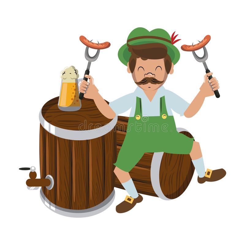 Bavarian man with sausages and beers. Vector illustration graphic design royalty free illustration