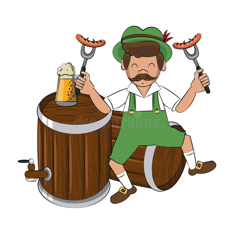 Bavarian man with sausages and beers. Vector illustration graphic design vector illustration