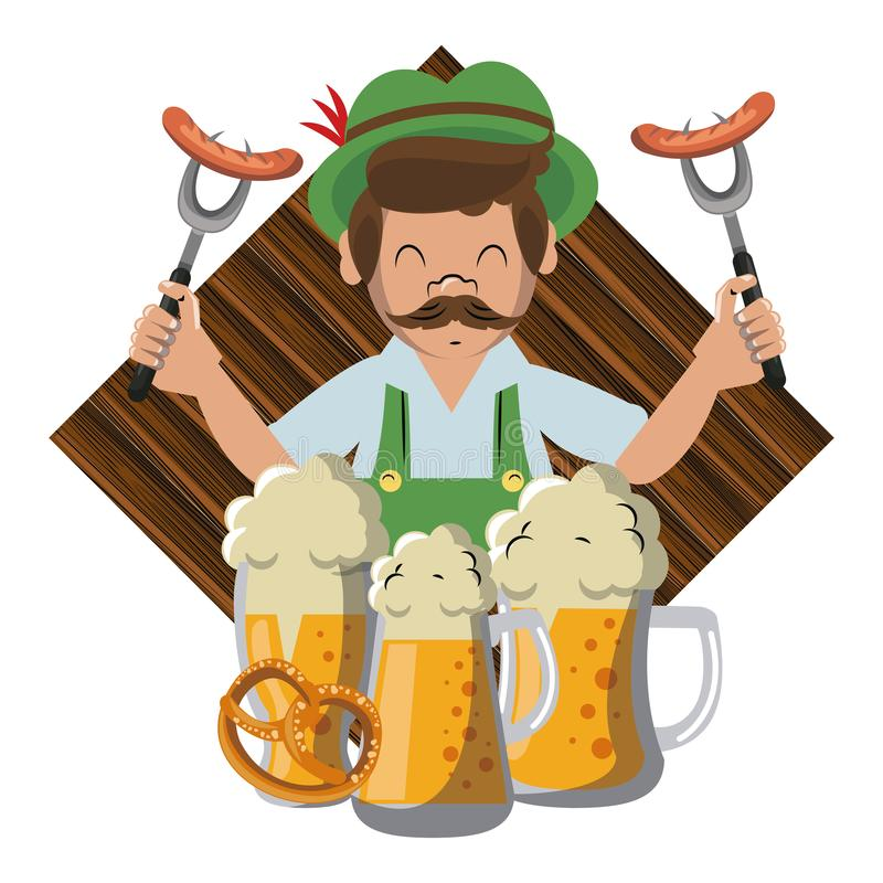 Bavarian man with sausages and beers. Vector illustration graphic design stock illustration