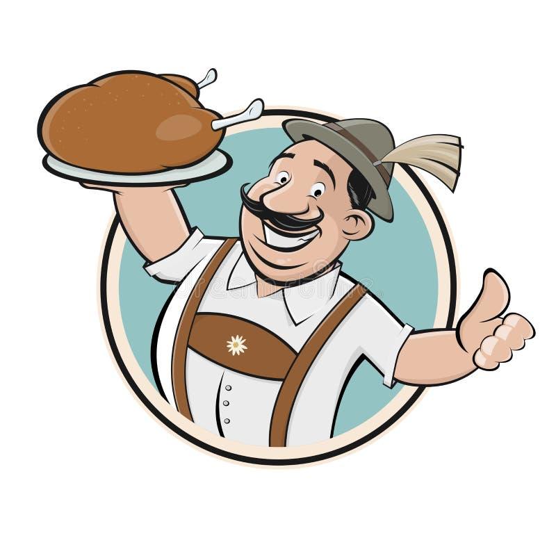 Bavarian man serving delicious chicken. Sign royalty free illustration