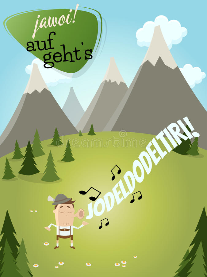 Bavarian man is singing. And a text that means yes let's go vector illustration