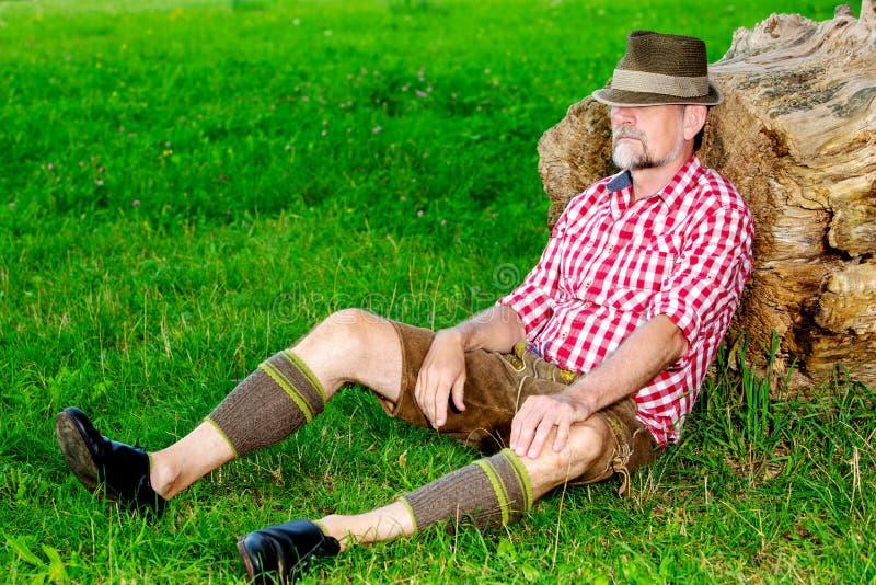 Bavarian man sitting outdoors at tree stump and sleeping stock image