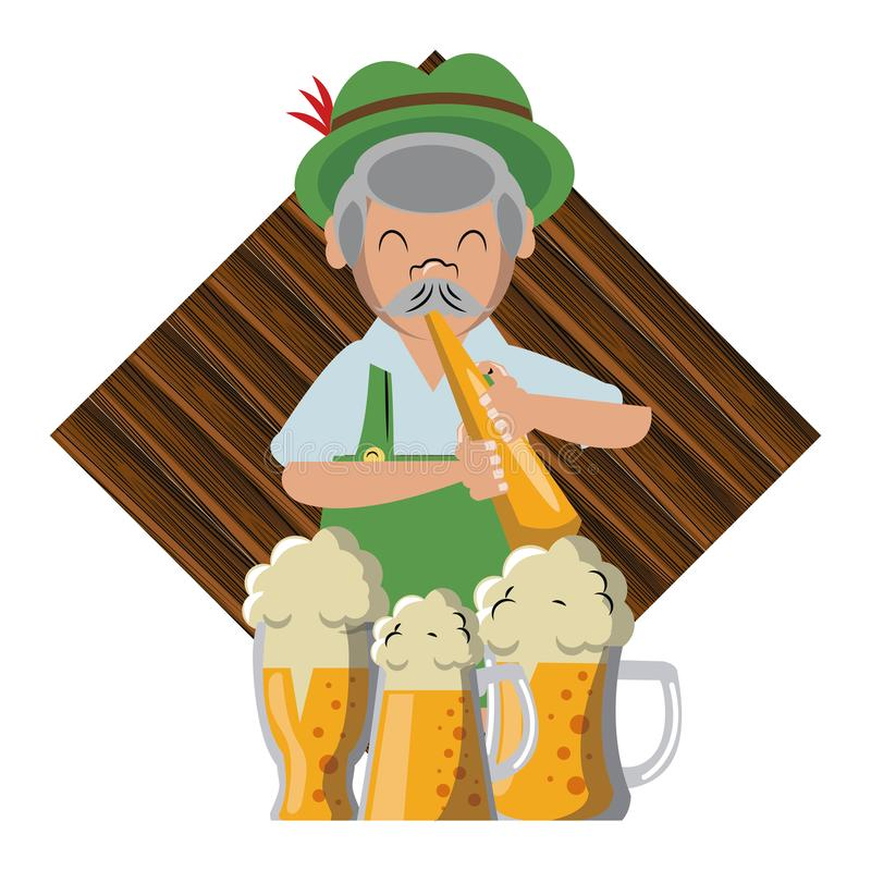 Bavarian man with trumpet and beers. Vector illustration graphic design stock illustration