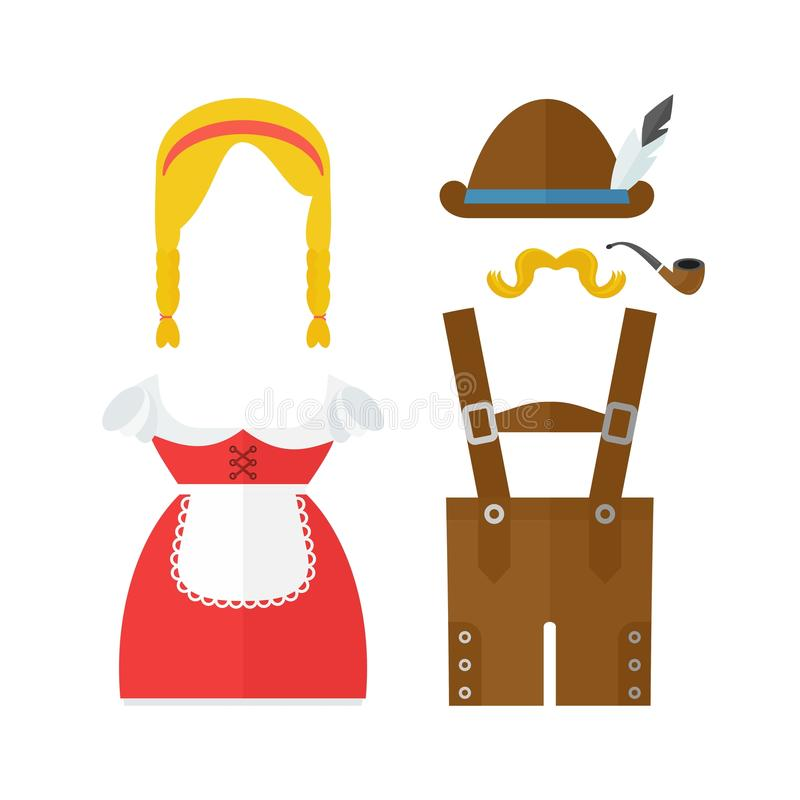 Bavarian man and woman costume. Flat vector cartoon illustration. Objects isolated on a white background stock illustration