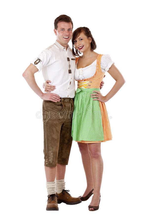 Bavarian man in and woman in smiling happy stock image