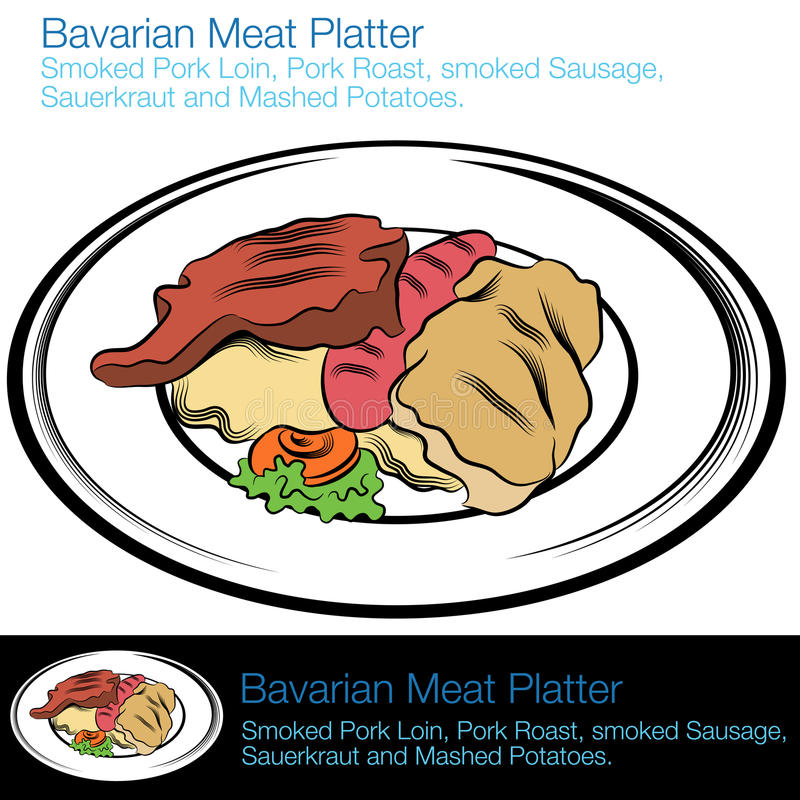 Bavarian Meat Platter. An image of a bavarian meat platter royalty free illustration