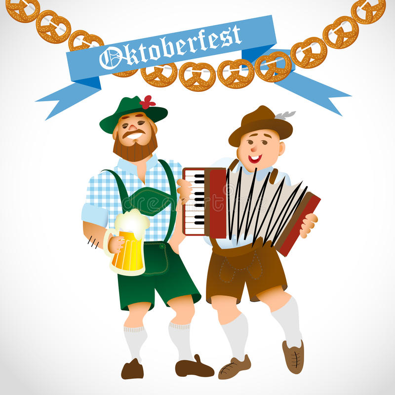 Bavarian men with a big glass of beer royalty free illustration