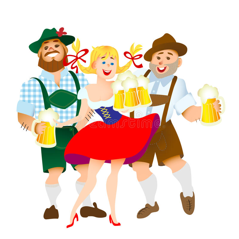 Bavarian men and woman with a big glass of beer. Bavarian men and woman celebrating oktoberfest with a big glass of beer. Vector illustration stock illustration