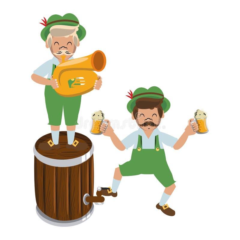 Bavarian mens with barrel and trumpet. Vector illustration graphic design vector illustration