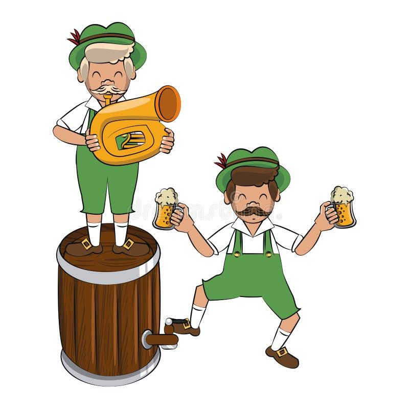 Bavarian mens with barrel and trumpet. Vector illustration graphic design royalty free illustration