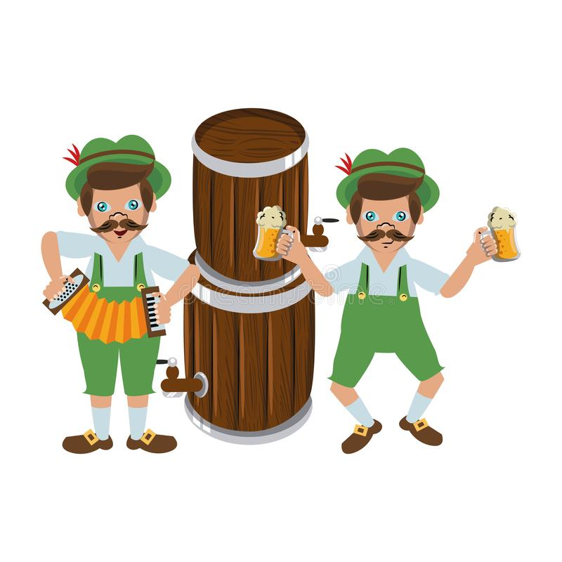 Bavarian mens with beers and accordion. Vector illustration graphic design royalty free illustration