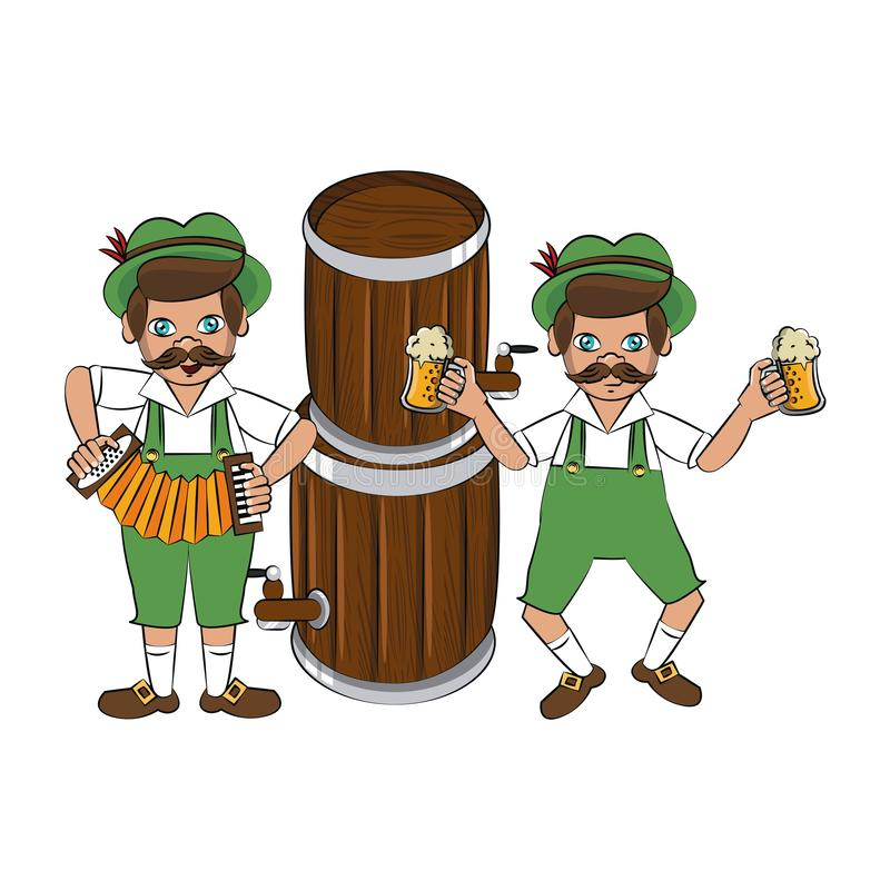 Bavarian mens with beers and accordion. Vector illustration graphic design stock illustration