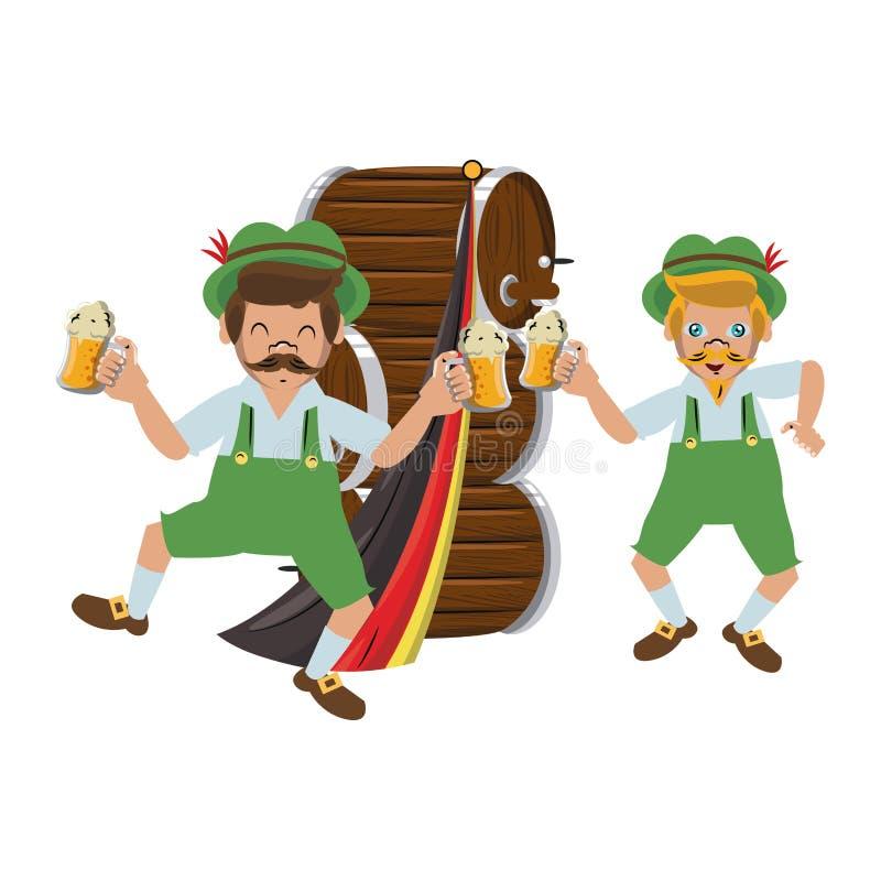 Bavarian mens with beers bottles. Vector illustration graphic design vector illustration