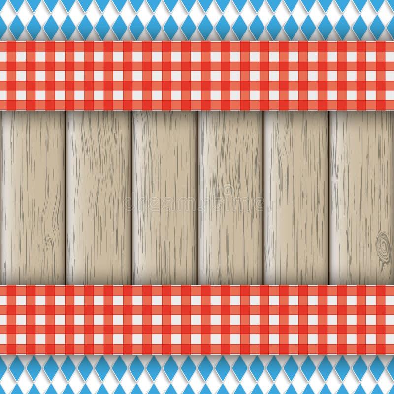 Bavarian National Colors Flyer Cloth. Bavarian national colors flyer with red table cloth on the wooden background stock illustration