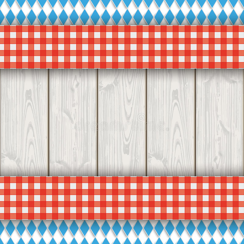 Bavarian National Colors Flyer Cloth Wood. Bavarian national colors flyer with red table cloth on the wooden background vector illustration