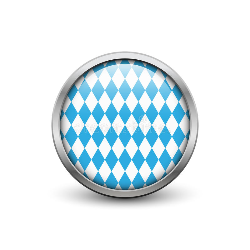 Bavarian Octoberfest flag. Button with metal frame and shadow vector illustration