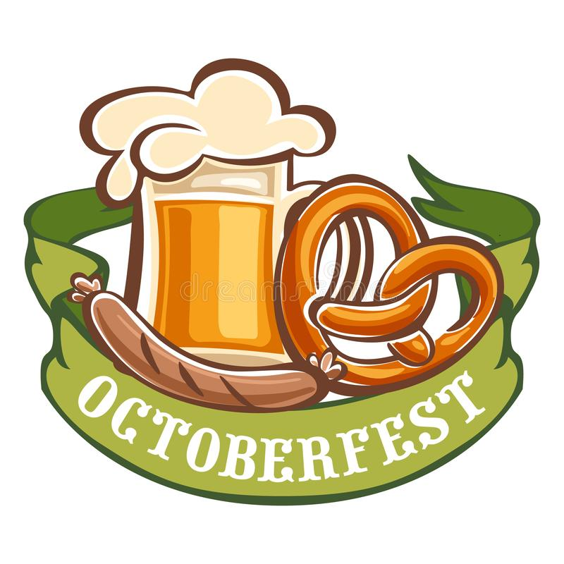 Bavarian octoberfest icon, cartoon style stock illustration