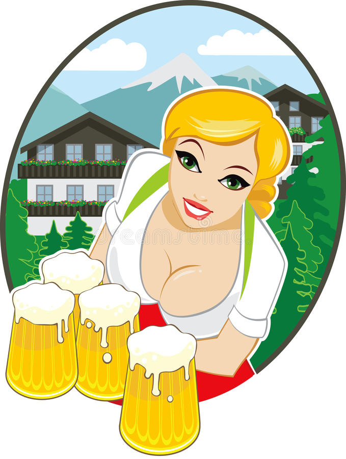 Bavarian Oktoberfest. Young bavarian girl with beer mugs royalty free illustration