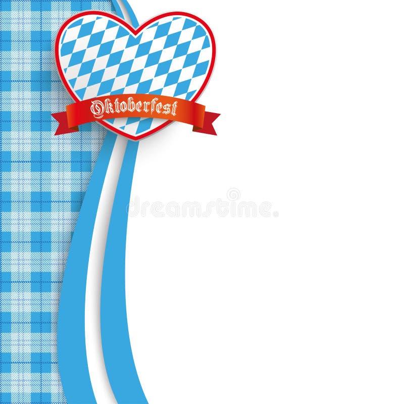 Bavarian Oktoberfest Checked Blanket Oblong Heart. German text O zapft is and Oktoberfest, translate on tap and Oktoberfest vector illustration