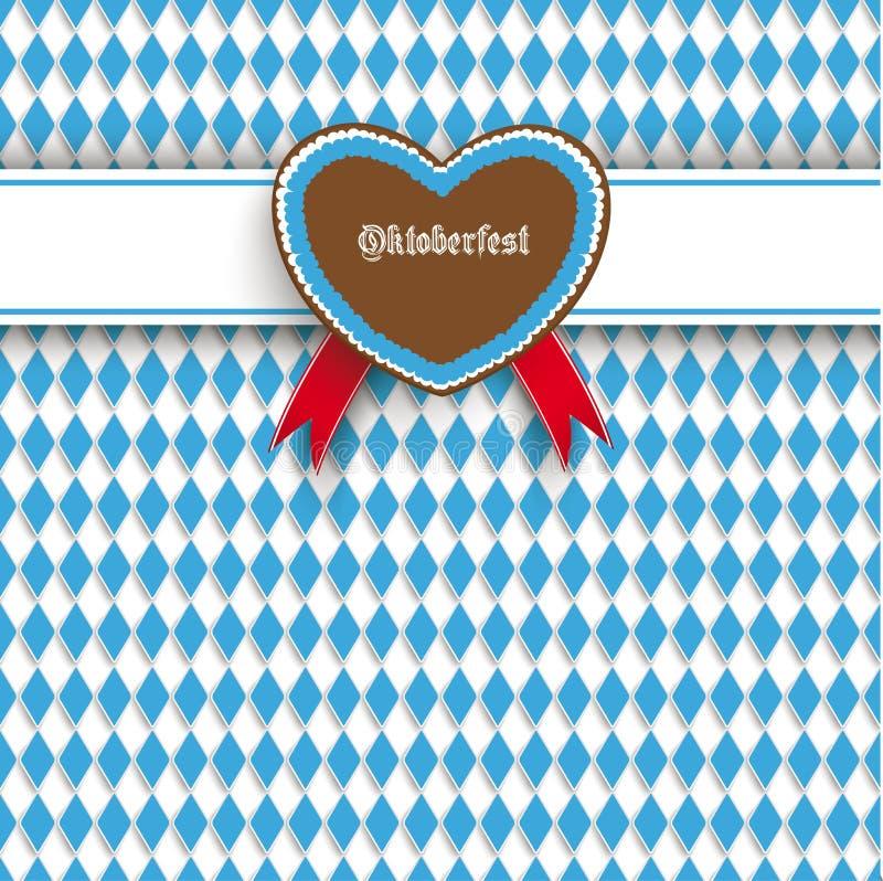 Bavarian Oktoberfest Flyer Banner Heart. Oktoberfest design on the white background stock illustration