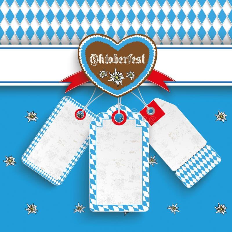 Bavarian Oktoberfest Price Stickers Heart Edelweiss. Oktoberfest design on the white background. German text Oktoberfest, translate Oktoberfest royalty free illustration