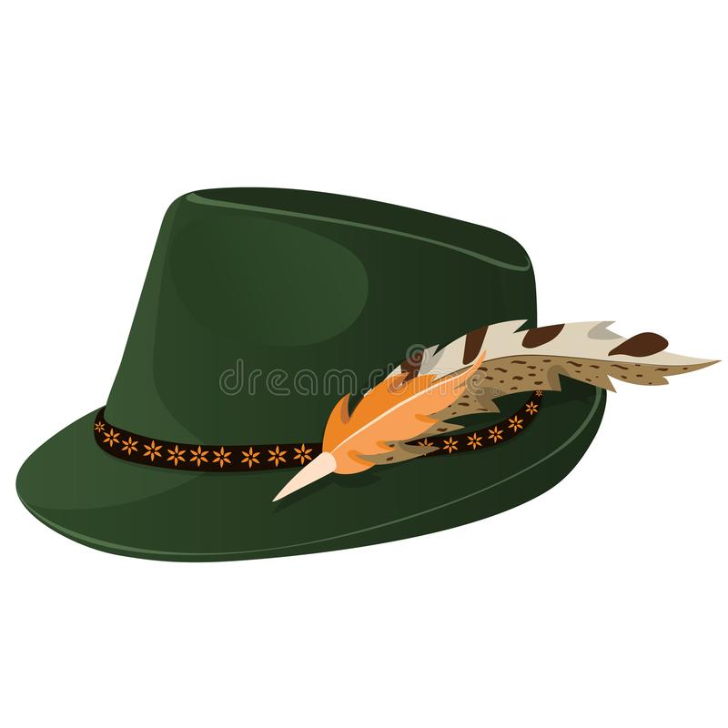 Bavarian Oktoberfest style hat with a feather. Vector illustration stock illustration