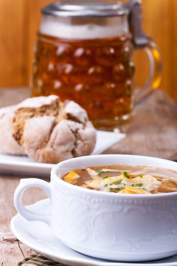 Bavarian pancake soup royalty free stock images