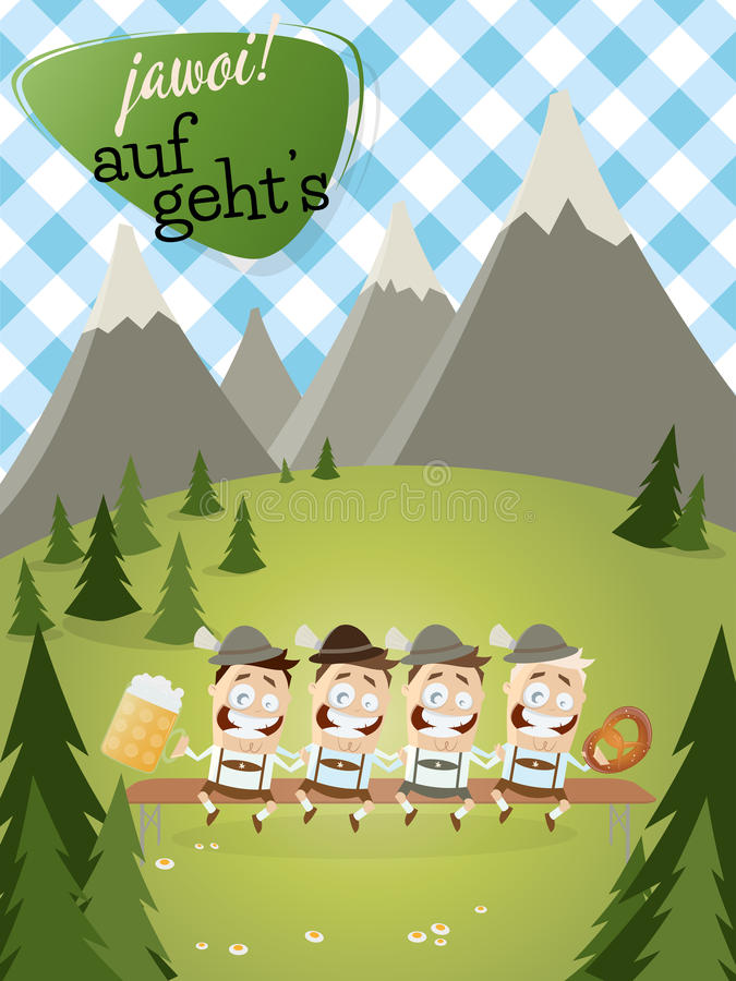 Bavarian people. Bavarian background with traditional people and text that means yes let's go stock illustration