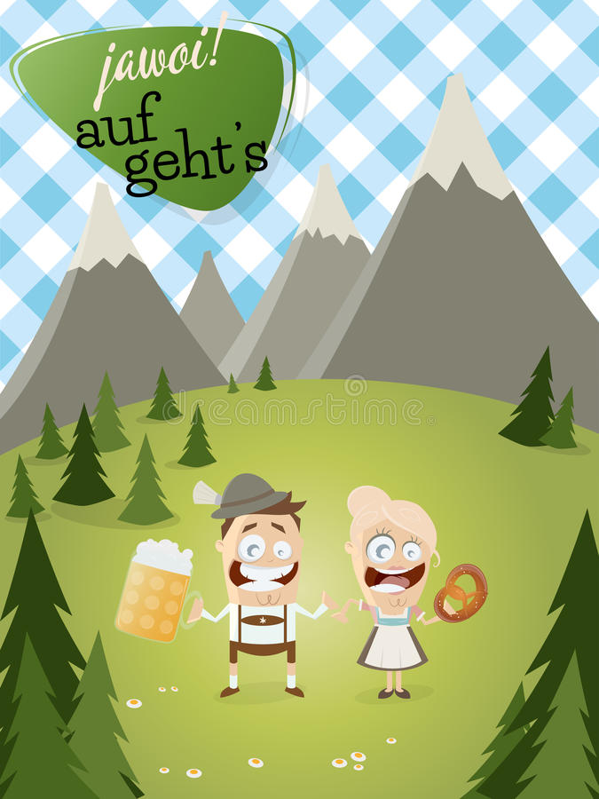 Bavarian people background royalty free illustration