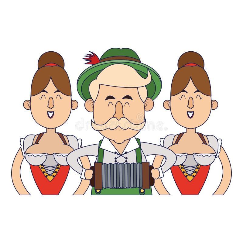 Bavarian people oktoberfest cartoon vector illustration