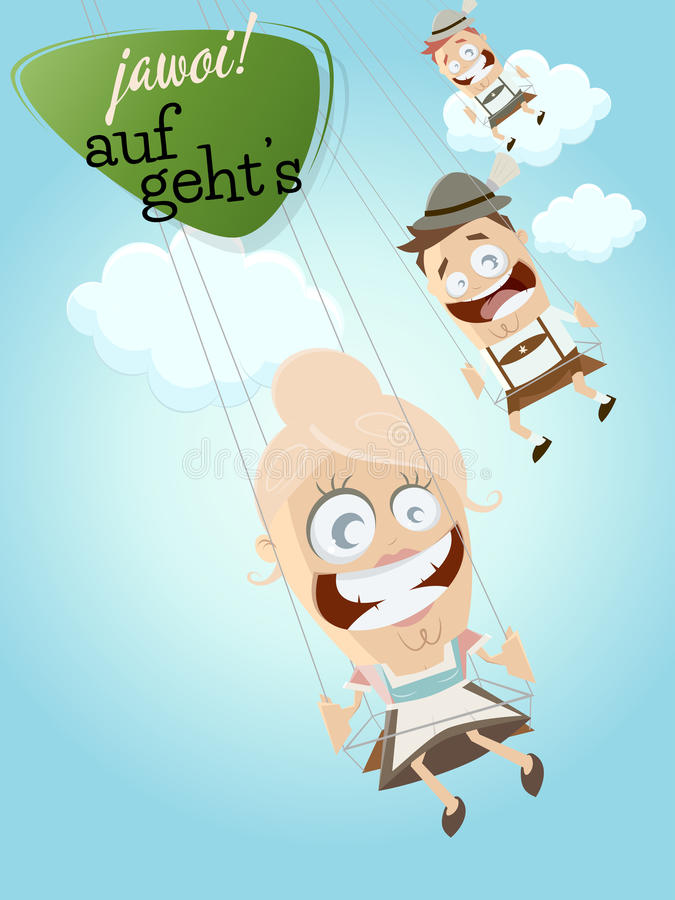 Bavarian people. In swing ride and text that means yes let's go royalty free illustration