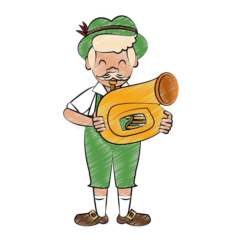 Bavarian playing sausophone scribble. Bavarian playing sausophone vector illustration graphic design royalty free illustration