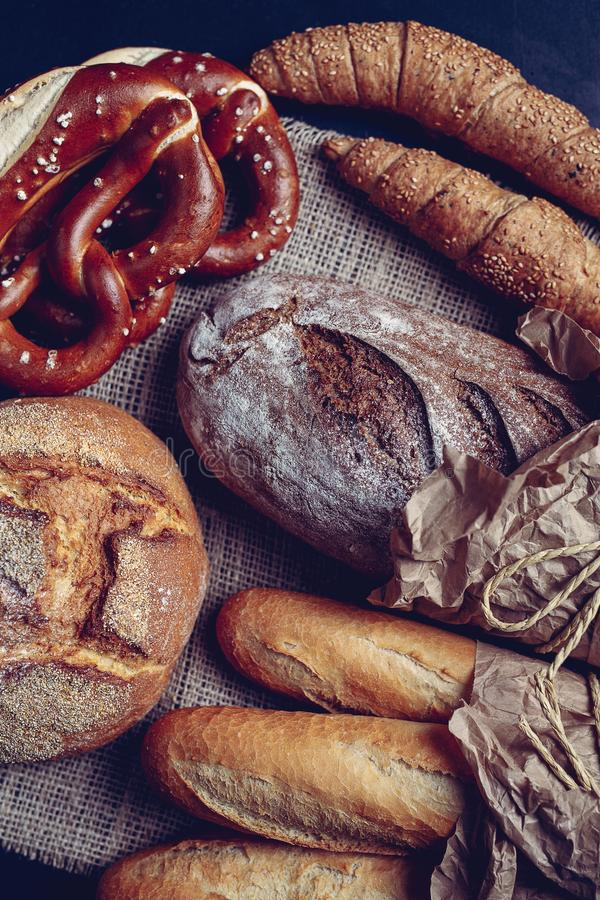 Bavarian pretzel and traditionally made baked goods. Isolated royalty free stock image