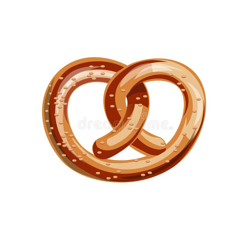 Bavarian pretzel vector. Appetizing bavarian pretzel. Vector illustration isolated on white background royalty free illustration
