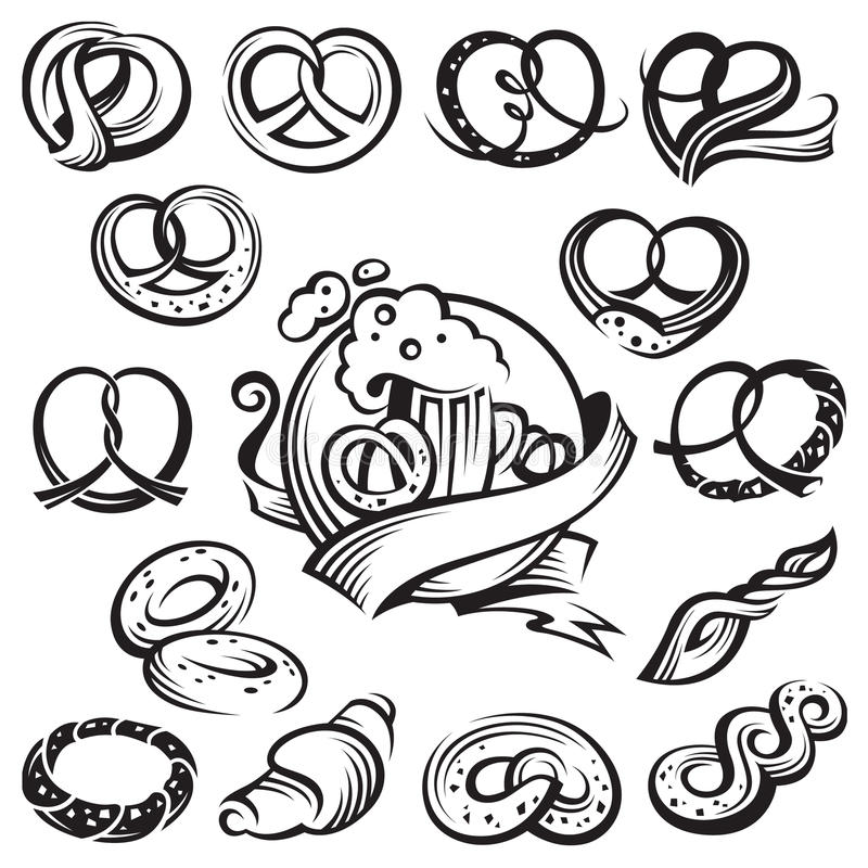 Bavarian pretzels. Monochrome set of bavarian pretzels vector illustration