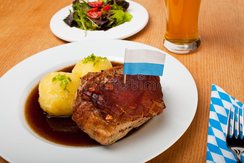 Bavarian roast pork dish stock image