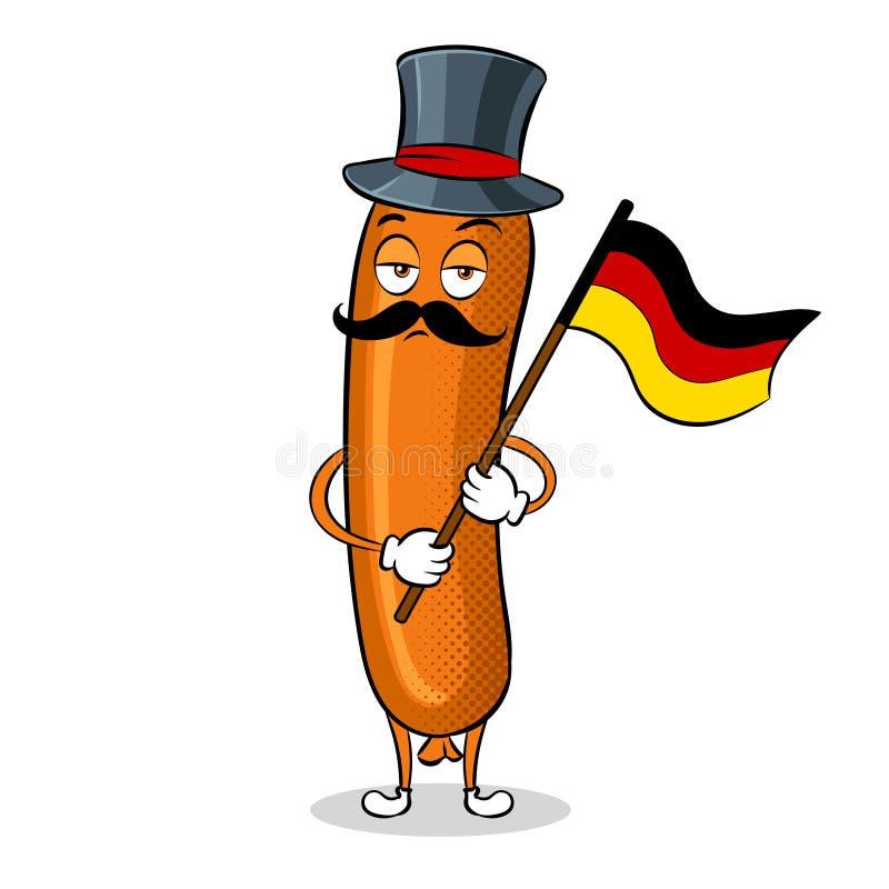 Bavarian sausage pop art vector illustration. Bavarian sausage with germany flag pop art retro vector illustration. Cartoon food character. Isolated image on vector illustration