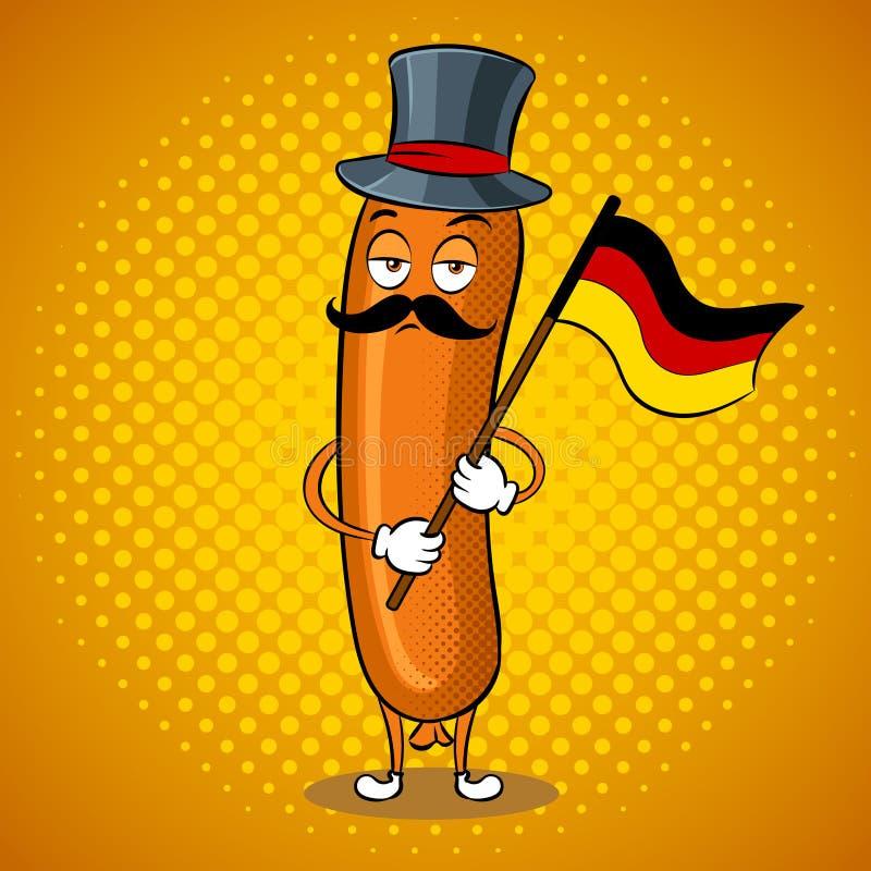Bavarian sausage pop art vector illustration. Bavarian sausage with germany flag pop art retro vector illustration. Cartoon food character. Color background vector illustration