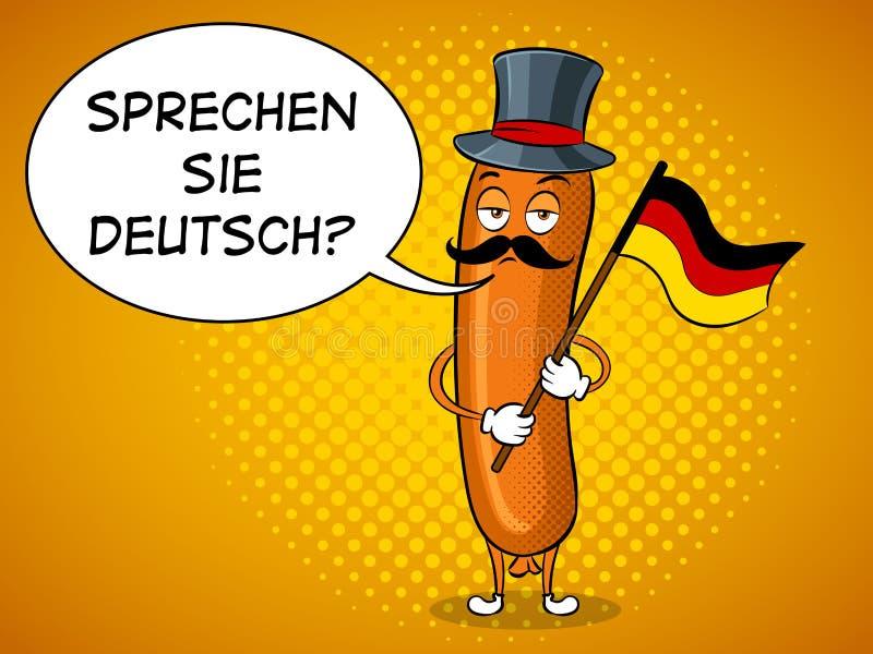 Bavarian sausage pop art vector illustration. Bavarian sausage with germany flag pop art retro vector illustration. Cartoon food character. Text bubble. Color stock illustration