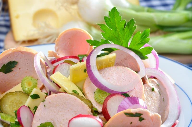 Bavarian sausage salad royalty free stock photo