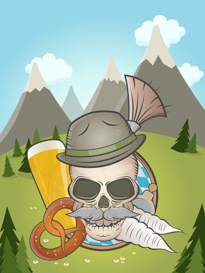 Bavarian skull with idyllic background royalty free illustration