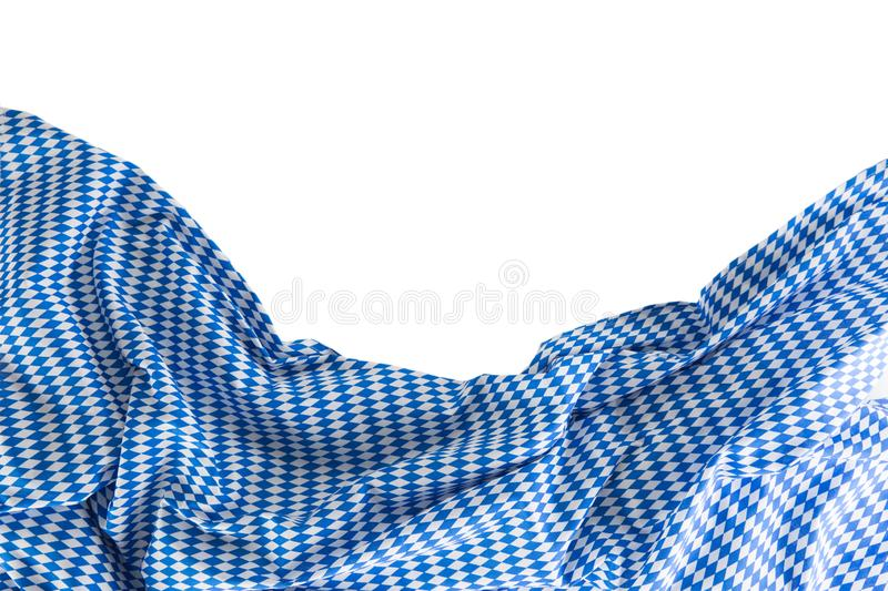 Bavarian tablecloth with oktoberfest motif isolated on white background royalty free stock image