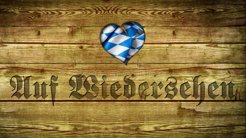 Bavarian tablecloth on wood with the German word for `Goodbye`. Bavarian tablecloth on wood with the word `Goodbye` in German vector illustration