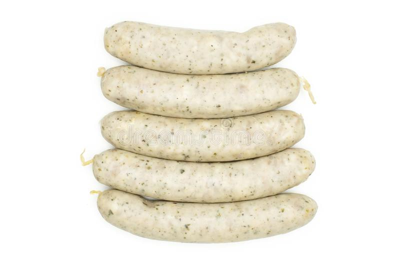 Bavarian white sausage isolated on white. Group of five whole bavarian white sausage flatlay isolated on white royalty free stock images